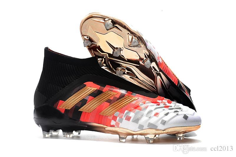 1593e4b37fb 2019 Hot Sale Original Predator 18+ FG Soccer Cleats Outdoor Soccer Shoes  Messi High Ankle MENS Football Boots White Red Gold Size 39 45 From  Ccl2013