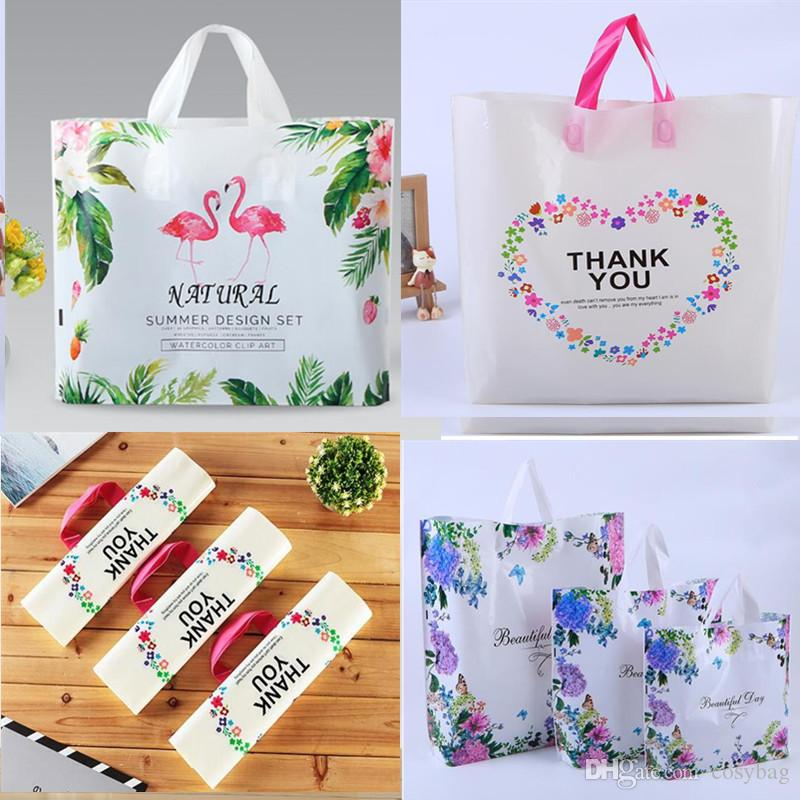 Flamingo Plastic Gift Bags Large Merchandise Bags Retail Clothing Grocery Boutique Shopping Bags With Handles Love Of Butterfly And Thank