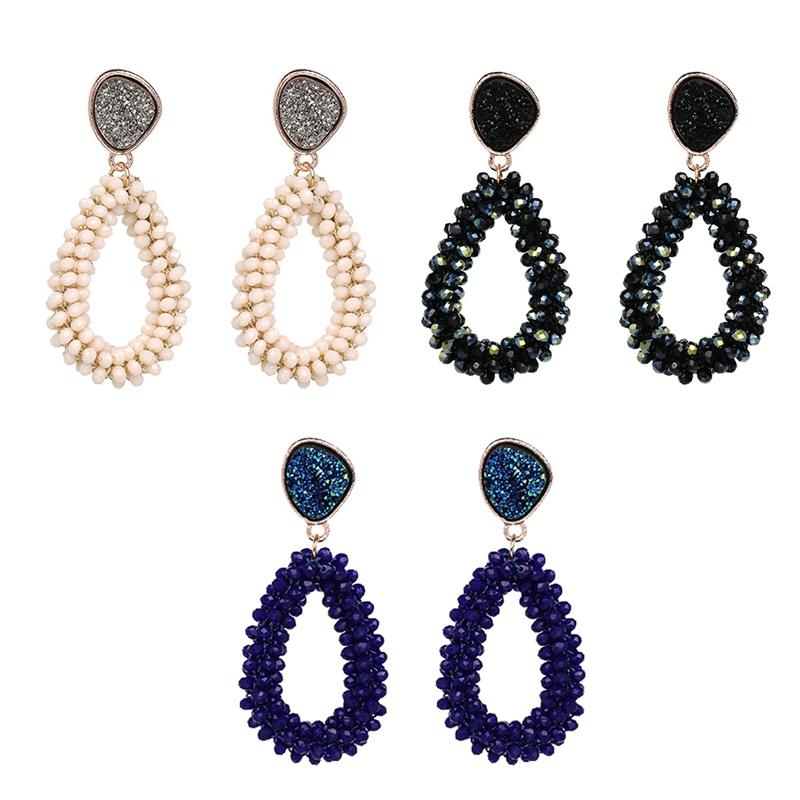Women Crystal Faceted Beaded Water Drop Handmade Big Earring Long Pendants Lady Girl Dangle Earrings Charm Jewelry Gift Brincos