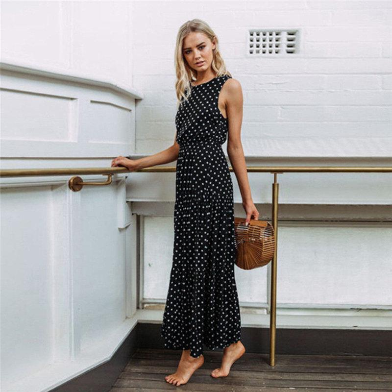 566395bcf98 Women Sexy Button Maxi Dress Female Vintage Fashion Dot Print Sleeveless Summer  Dresses Casual Beach Long Dress Vestidos Wrap Dress Sexy Dress From  Bibei08