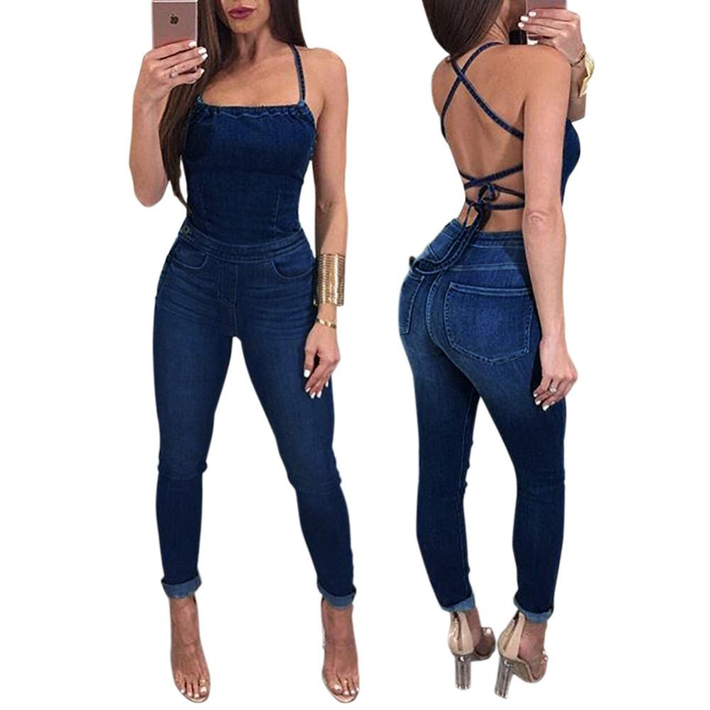 d4e39cd97a87 Sexy Backless Off Shoulder Jeans Jumpsuit Summer 2018 Bandage ...