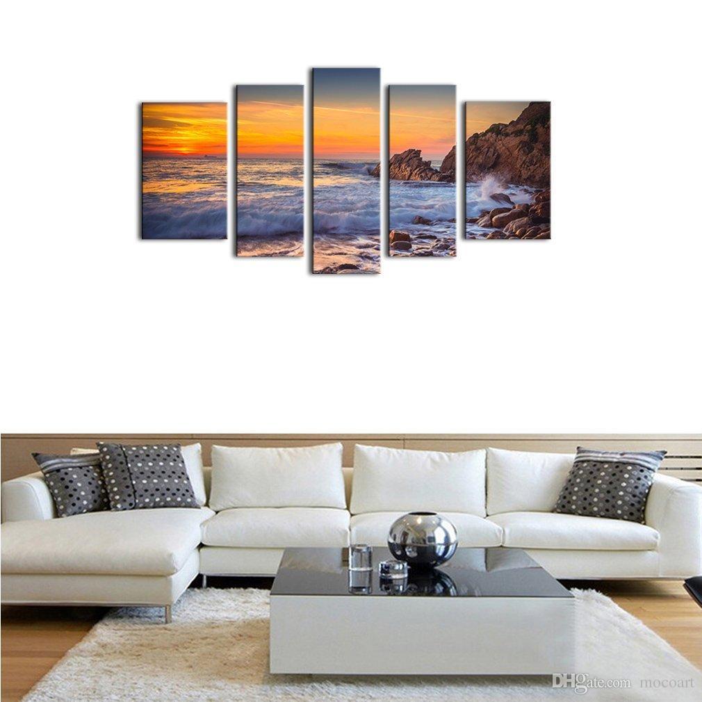 5 Pannelli Canvas Wall Art Modern Seascape Painting Tramonto Sea View Picture Stampa su tela Allungato e incorniciato opere d'arte la decorazione domestica