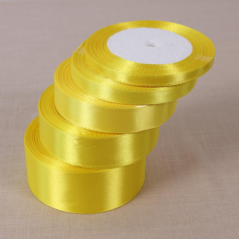 ilk satin ribbon 25Yards Lemon Yellow Silk Satin Ribbon Wedding Party Decoration Gift Wrapping Christmas New Year Apparel Sewing Fabric B...