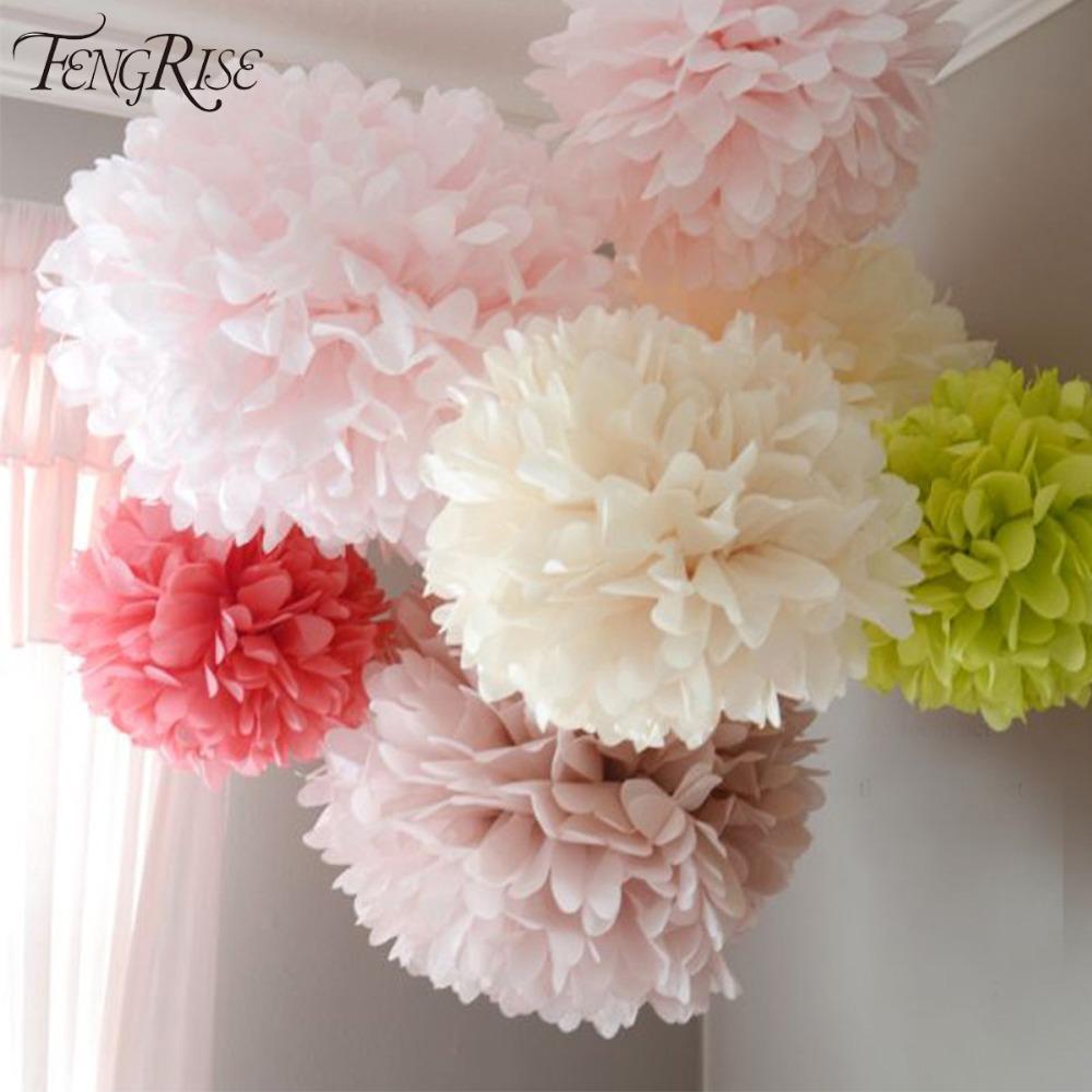 2018 Fengrise Wedding Decoration 20 25 30cm Pom Pom Tissue Paper