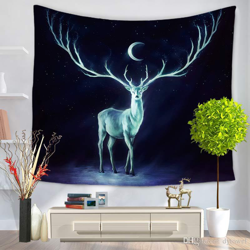 Mond Elch Wandbehang Tapisserie Polyester Stoff Deer Strand Handtuch Abdeckung Decke Im Freien Picknick Yoga Matte Dekoration Textilien
