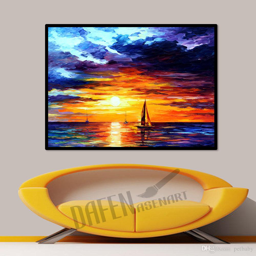 Modern Knife Oil Painting on Canvas Handmade Beautiful Golden Setting Sun Sea Sailboat Wall Picture for Living Room Bedroom Wall Decor