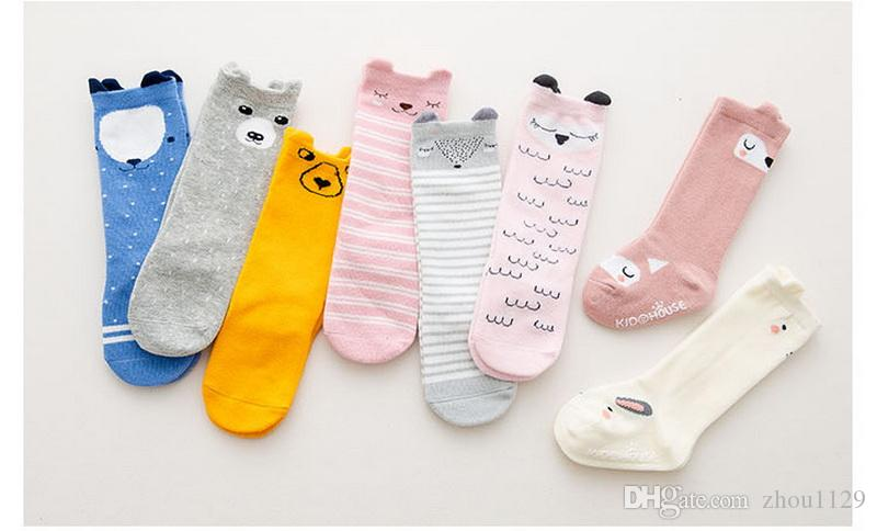 Newborn Toddler knee high sock Baby Girl Boy Socks anti slip Cute Cartoon Cat Fox leg warmers For newborns infant Warm Long Sock free ship