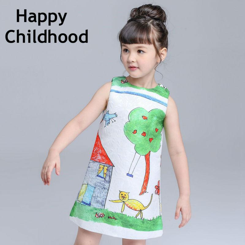 2016 Summer Hand Painted Cartoon Kids Dresses for girls sleeveless girls dresses 3-13Y green drawing girls clothes