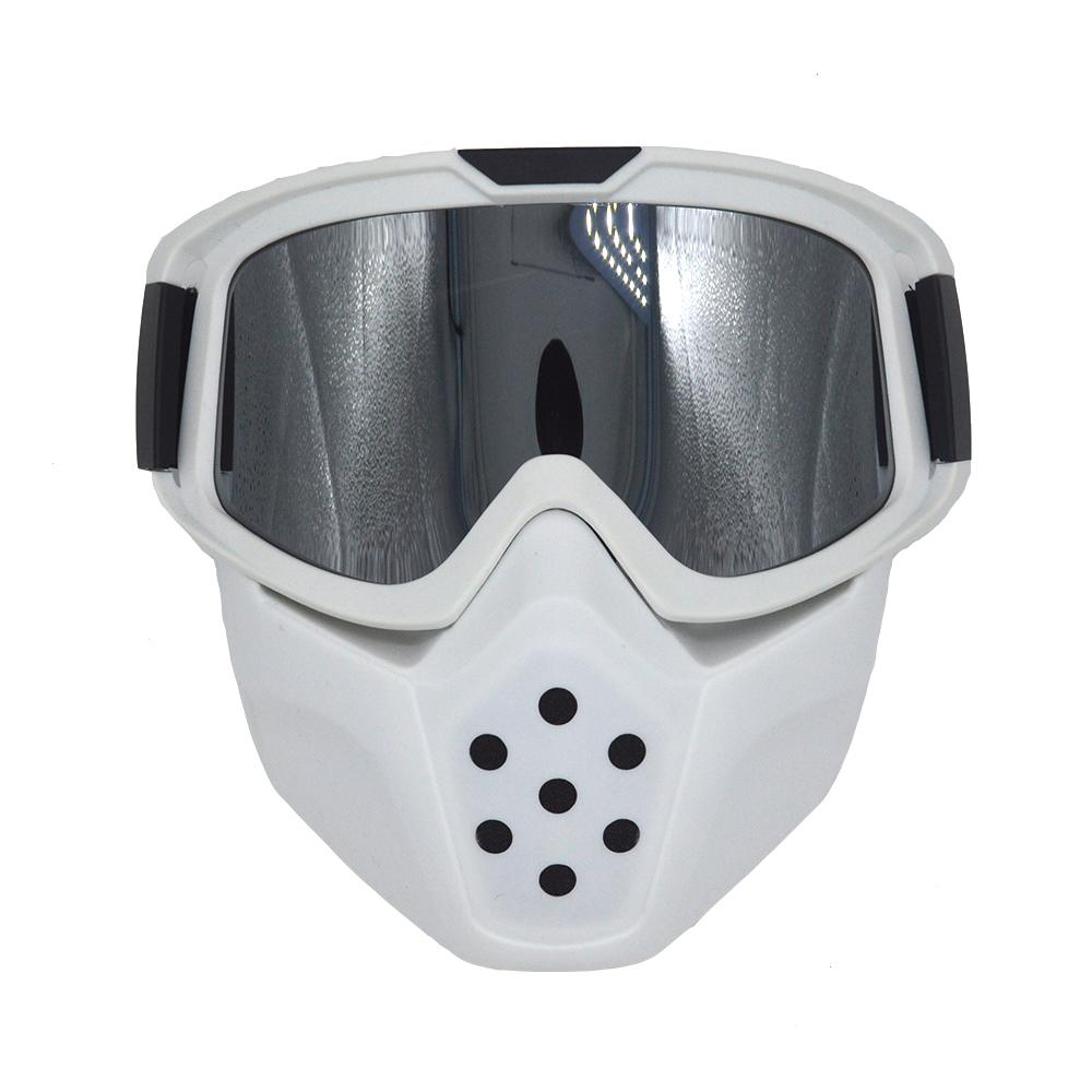 a4a284e100 White Motorcycle Helmet Mask Detachable Goggles Mouth Filter for ...