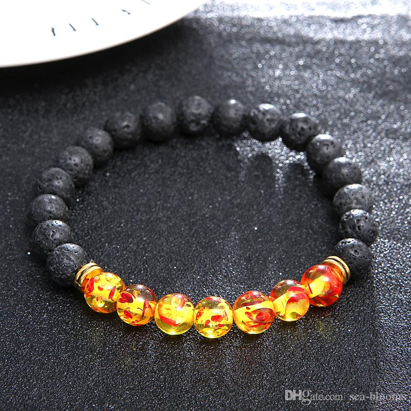 Charm Reiki Healing Balancing Round Beads Bracelet Elastic Bracelet Volcanic Stone Jewelry Protection Energy Healing Free DHL D416S
