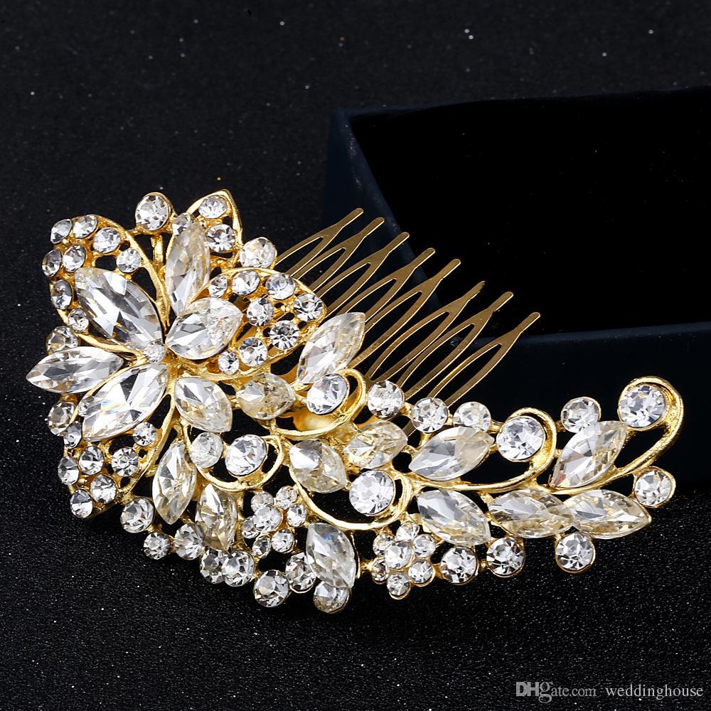 2019 vendita calda FEIS all'ingrosso occhi cavallo placcato in oro con capelli pettinati romantico accessorio da sposa acconciatura da sposa fiore accessorio capelli