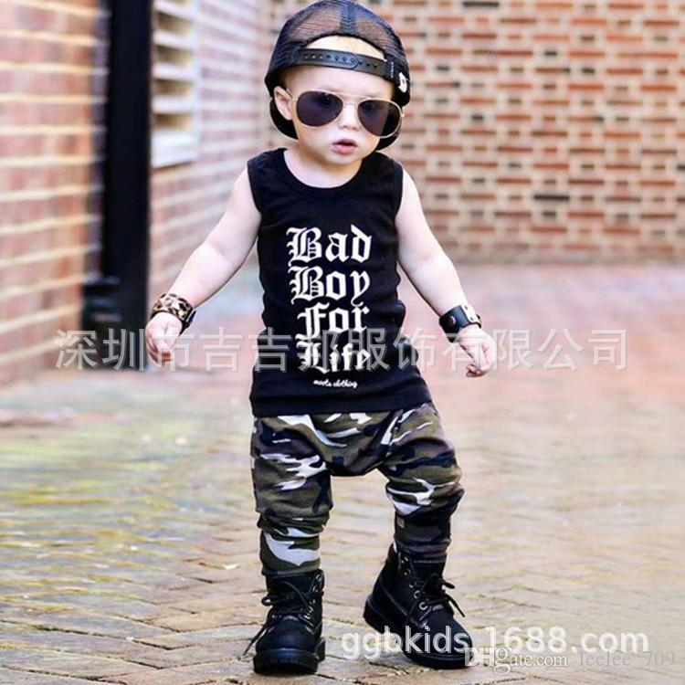 28ccf7ec5 2019 Boys Girls Baby Clothing Sets Camouflage Set Shirt Shorts Set Summer  Sleeveless Toddler Tops Boutique Infant Outfits Bad Boy For Life From  Leelee_709, ...
