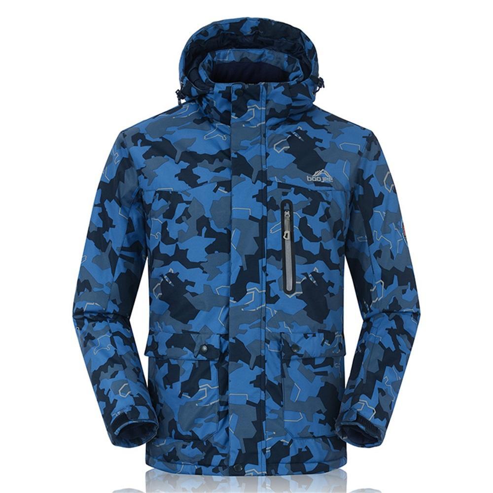 02850dfe Invierno térmico -30 Grados chaqueta de snowboard hombres Camouflague  impresión abrigos de esquí para hombre con capucha impermeable chaquetas de  ...