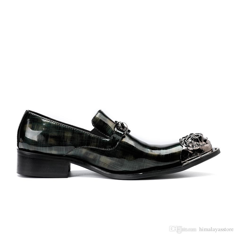 El yapımı Hakiki Deri Düğün Ayakkabı Erkekler Lüks Baskı Balo ve Ziyafet Erkekler Yüksek Topuk Moda Zincir Elbise Ayakkabı