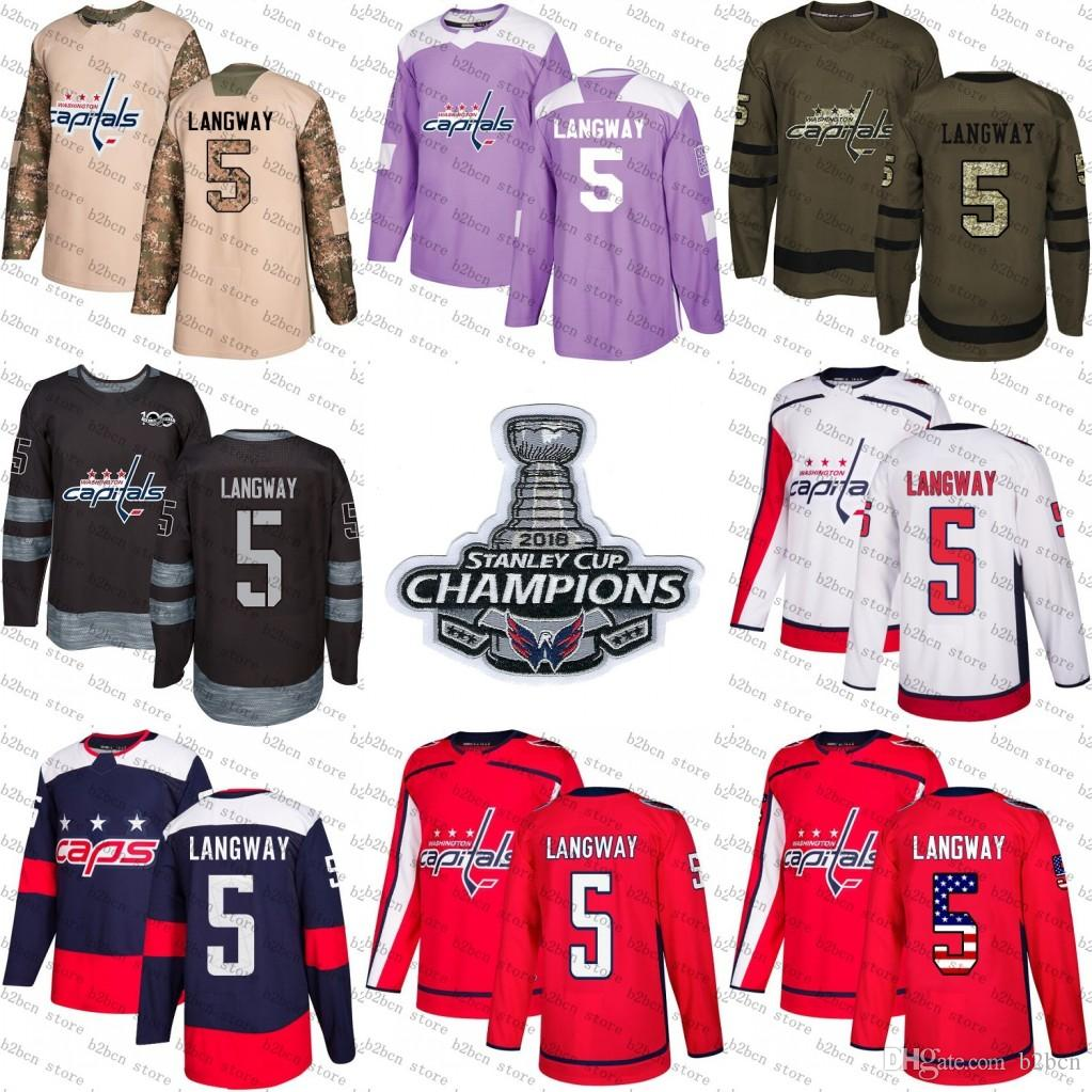 30bef0197ee 2018 2018 Stanley Cup Champions 5 Rod Langway Washington Capitals Green USA  Flag Purple Fights Cancer Practice Camo Veterans Day Hockey Jerseys From  B2bcn