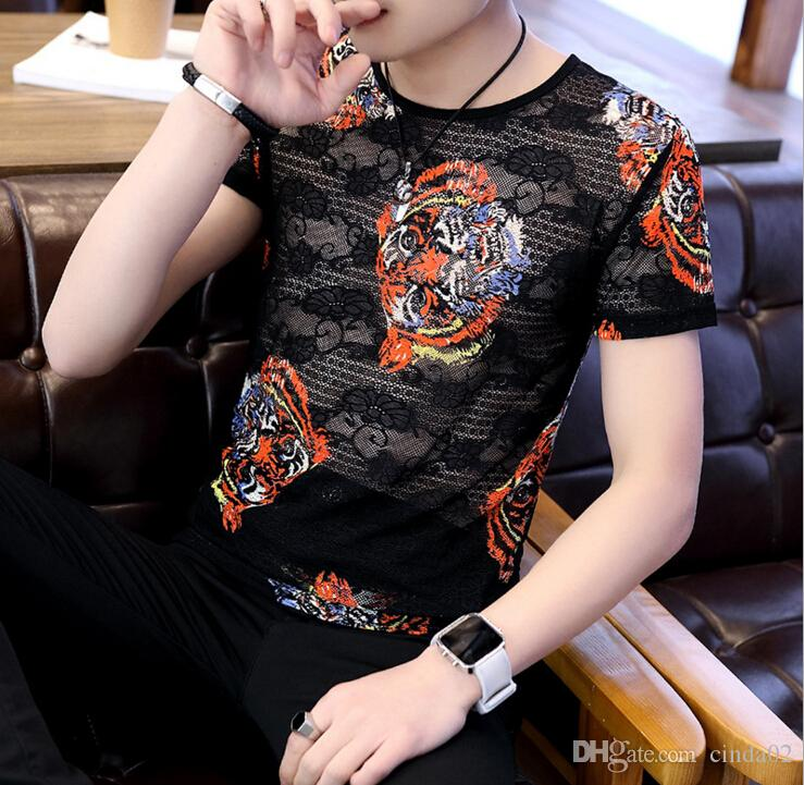 Tiger Head Sexy Male T-Shirts Crew Neck Summer Cotton Breathable Black See Through Tops Tee For Men