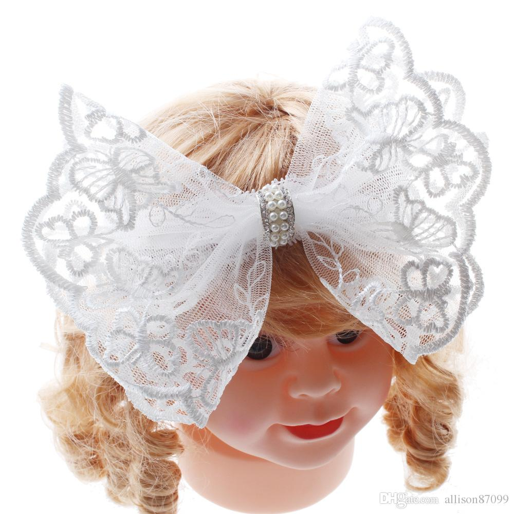 New Hair bows White Lace Headband Wedding party Hair accessories for baby girl Pearls headbands Photography 2018