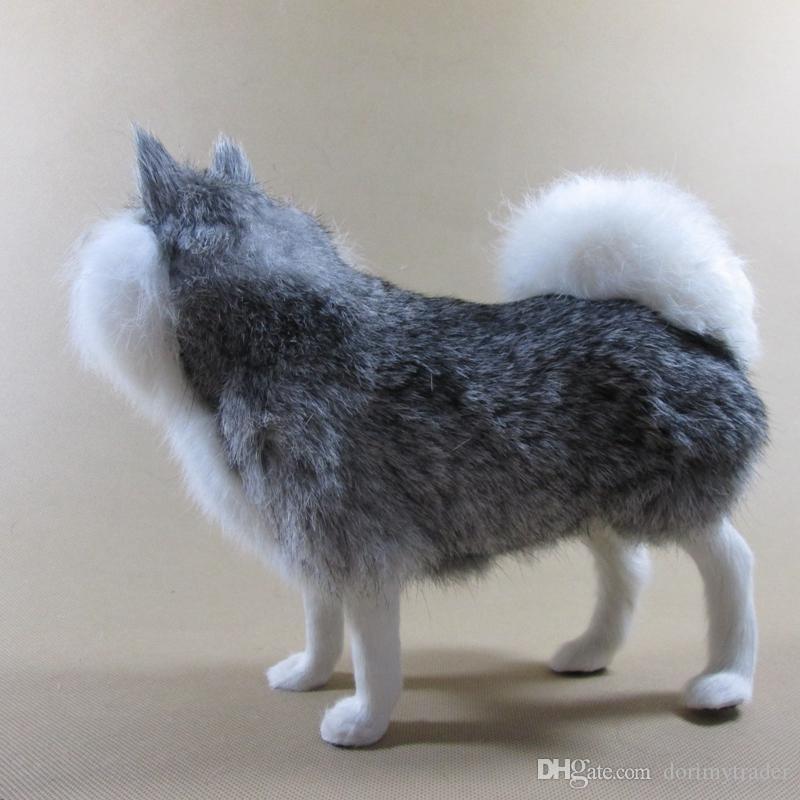 Dorimytrader моделирование животных Собака мягкие реалистичные Хаски плюшевые игрушки полиэтилен меха ремесла украшения дома кукла подарок 20x10x13 см