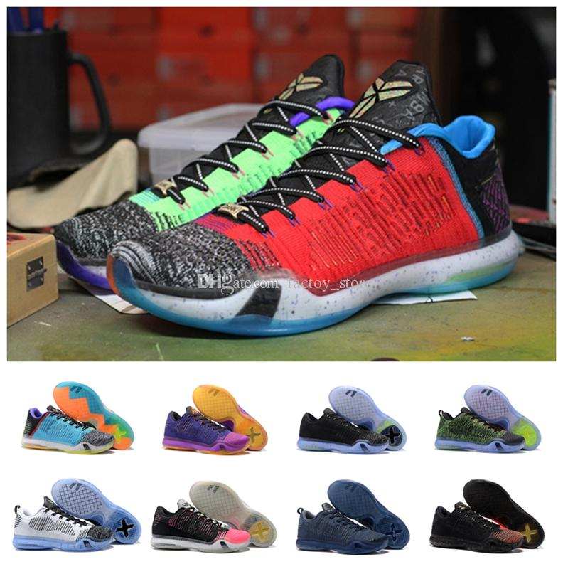 e06e27770 Hot Sale 2018 Top Quality Kobe 10 Low Weaving Basketball Shoes for Mens  What the KB 10s Yin And Yang Gold Christmas Rainbow Sports Sneakers Kobe 10  KB 10S ...