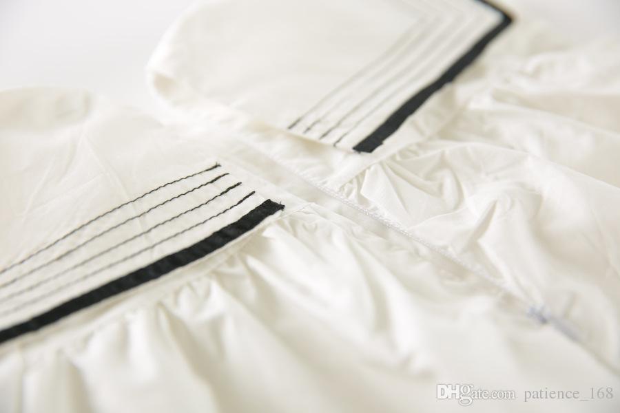 girls dress 2018 hot selling INS summer new Korean style girls short sleeve Navy wind Lapel dress cute 100% cotton dress