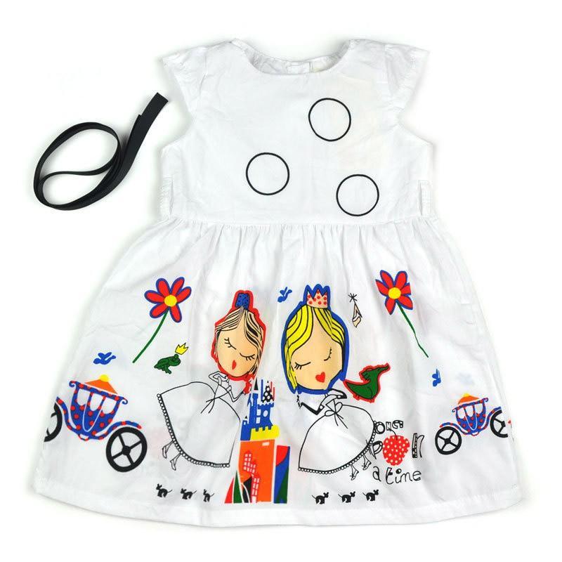 2017 neue Sommer schöne Mädchen Kleid Kinder Freizeitkleidung Baby Mädchen Kleid mit Schärpen Robe Prinzessin Kleid 2-7Y S2