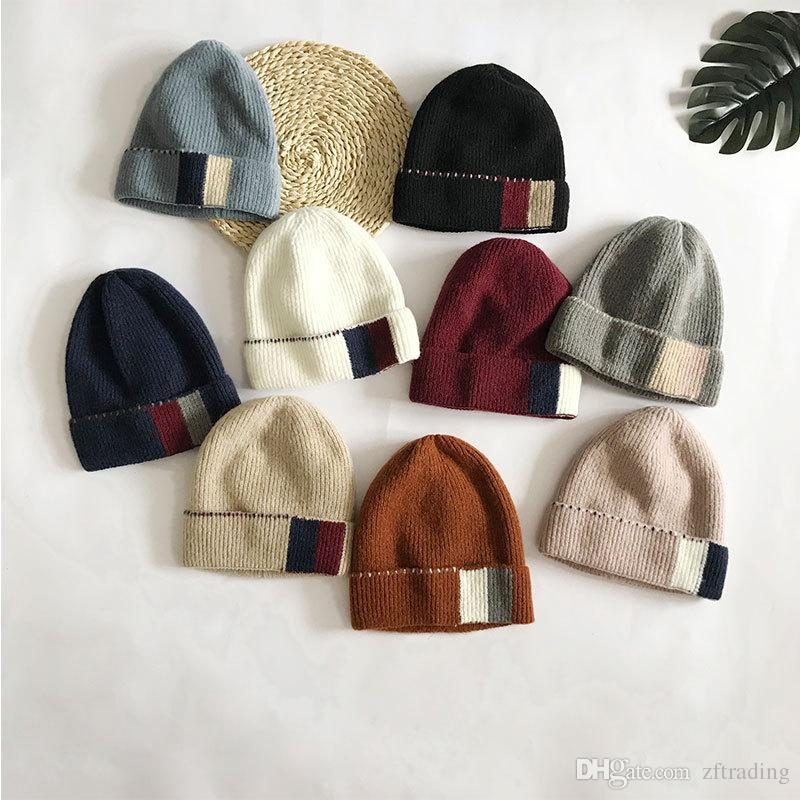 85d238450 Personality square color matching wool knit hat outdoor Korean version of  the wild wool hat winter new cold cover cap