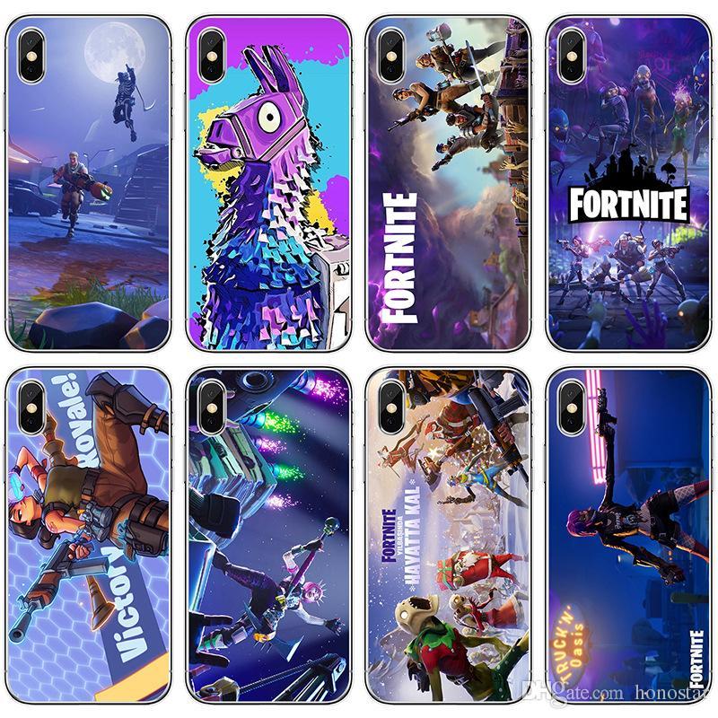 premium selection ea2b3 fdff3 Fortnite Phone Cases FPS Game Designer Soft TPU Back Cover for iPhone X XR  XS Max 7/8 6s 5s Samsung S10 plus Note9 Note8 S9 S8plus 48 design