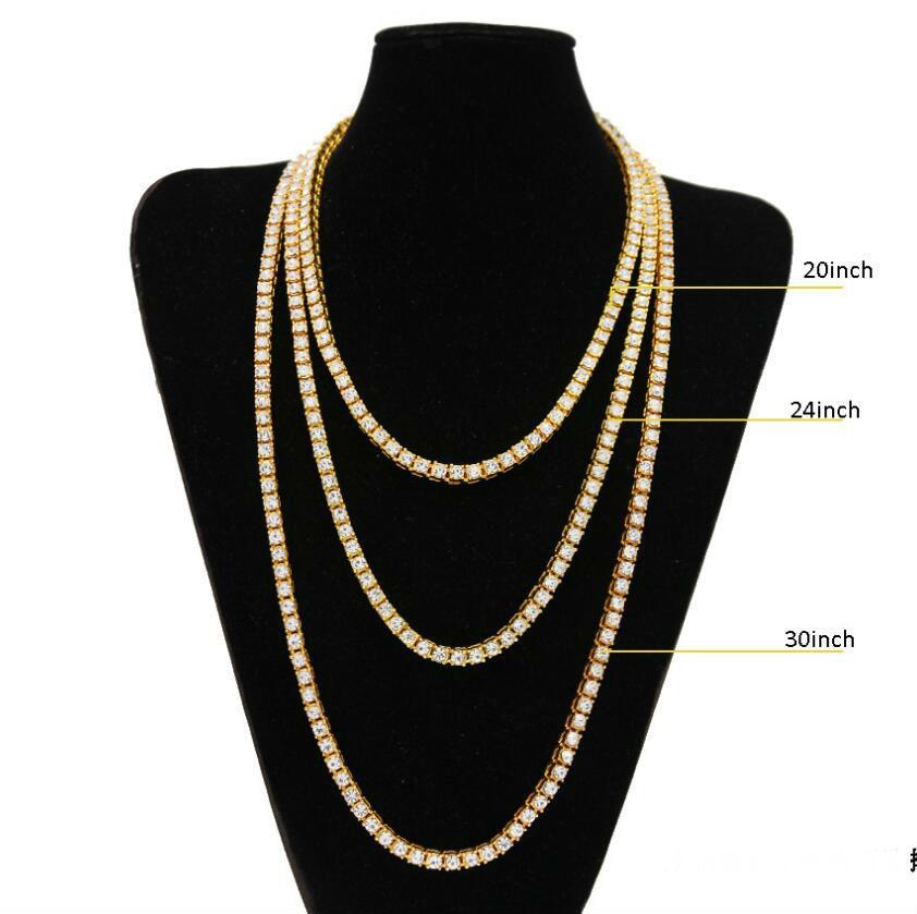 a85cf2f3e661 Cadena de oro para hombre hip hop fila de diamantes simulados cadena de  collar de la joyería Hip Hop 18-20-22-24-26-30 pulgadas para hombre de oro  tono ...