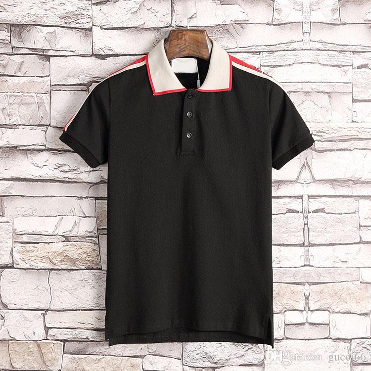 Novo Designer de Camisas Polo Homens Polo de Luxo Homens Casuais Camisa Polo T Serpente Abelha Carta Imprimir Bordado Moda High Street Mens Polos