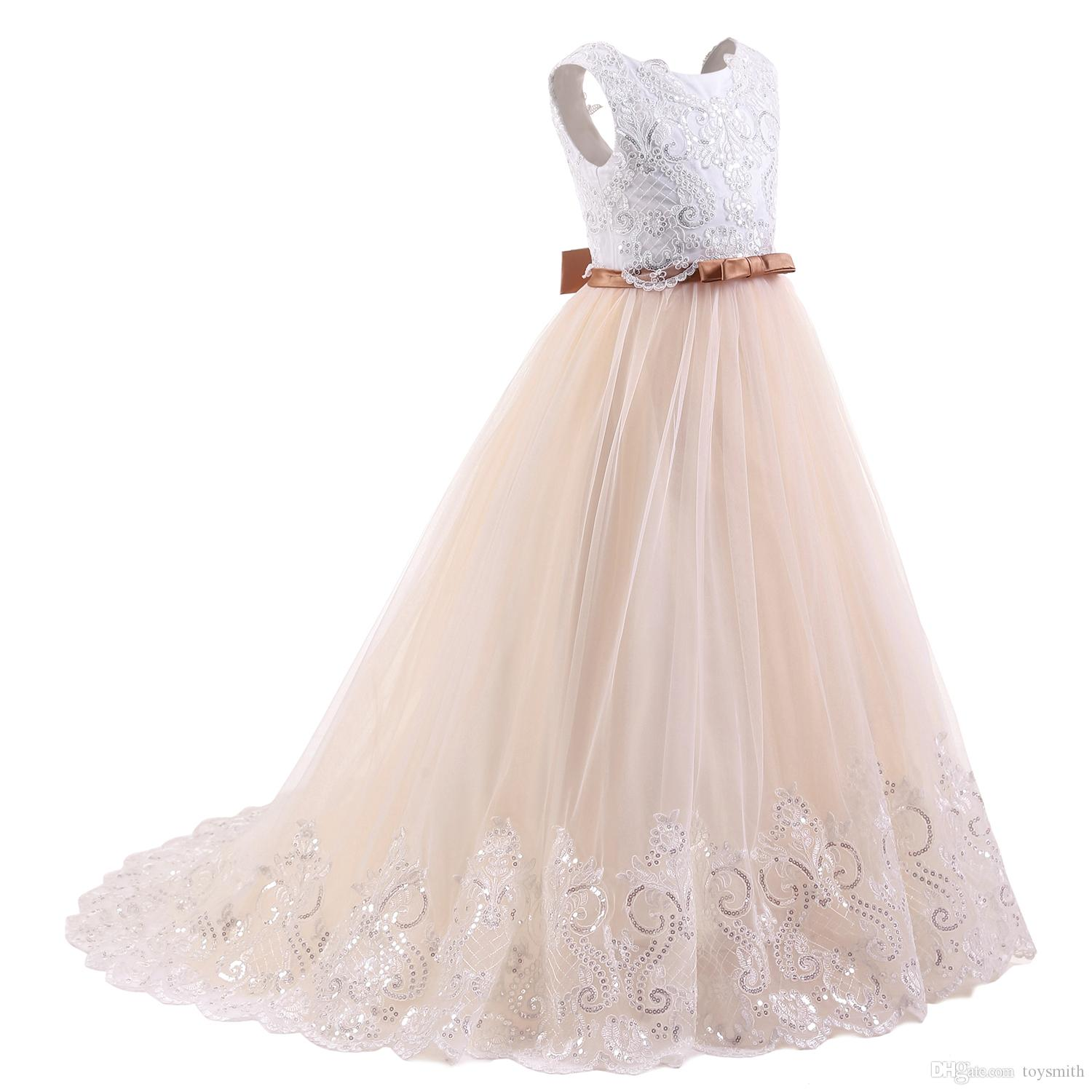 2018 New Fashion Tulle Jewel Applique Sleeveless Sequins Flower Girl Dresses Children's Pageant Dress White Bow