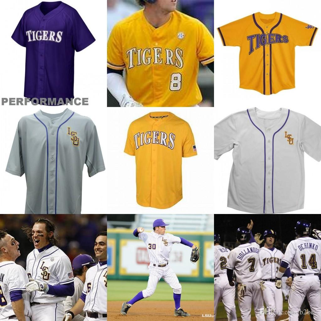 innovative design 76c90 971e4 Custom men LSU Tigers College Baseball 8 Alex Bregman Purple Gold White  Yellow DJ LeMahieu Nola Gausman Any Name Number Jerseys