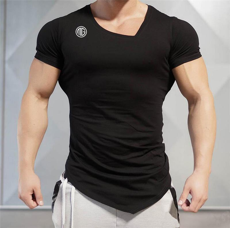 Summer Fashion Brand T Shirt Mens Gyms Clothing V Neck Short Sleeve