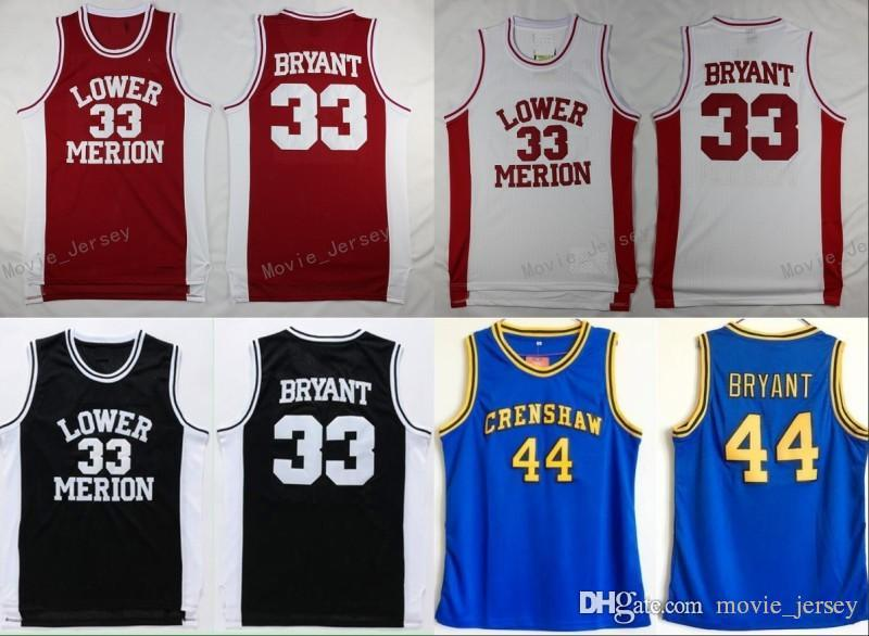 294d3c7319b Acquista Lower Merion College 33 Kobe Bryant Jersey Uomo Rosso Nero Bianco  Blu 44 Hightower Crenshaw High School Bryant Basketball Maglie Sport A   14.23 Dal ...