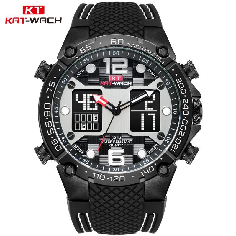 8bd67ff30f7 Großhandel KAT WACH Herren Sportuhren Swim Diver Outdoor Quarzuhr Digital  Uhren 2018 50m Wasserdichte LED Armbanduhr 717N Von Rivelchang