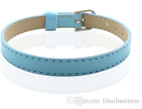 hot sale 8MM Artificial Leather DIY Wristband Bracelets femme Mix Color Charms Leather Bracelet Fit Slide Letter charms