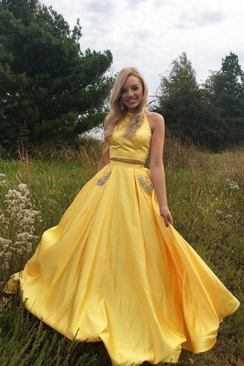 cc0c1f758566 Yellow Prom Dresses 2018 Open Back Evening Party Dress With Beads Pocket  Robe de soiree SE257 ...