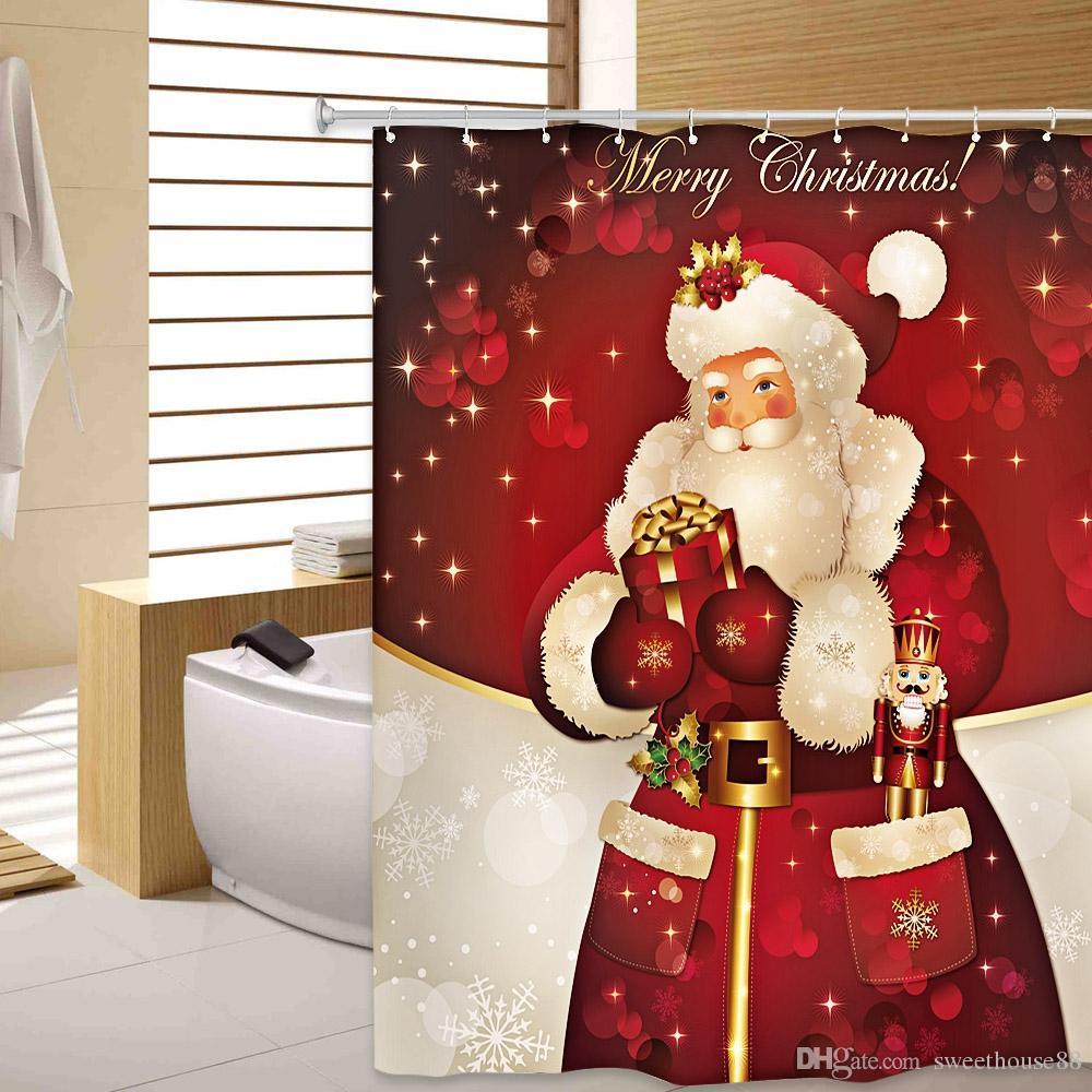 Grosshandel Frohe Weihnachten Rot Polyester Bad Vorhang