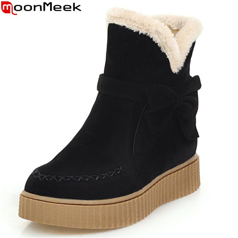 Moonmeek Flock Black Beige Women Boots Flat With Round Toe Bowknot Ladies Snow Boots Keep Warm Comfortable Ankle Cheap Shoes Womens Shoes From Aiyin