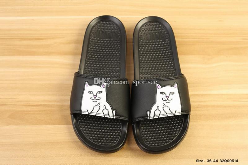 a5668ad690357 2018 RIPNDIP Lord Nermal Slide Fashion Men Women Slippers Black Boots  Footwear From Sportscc