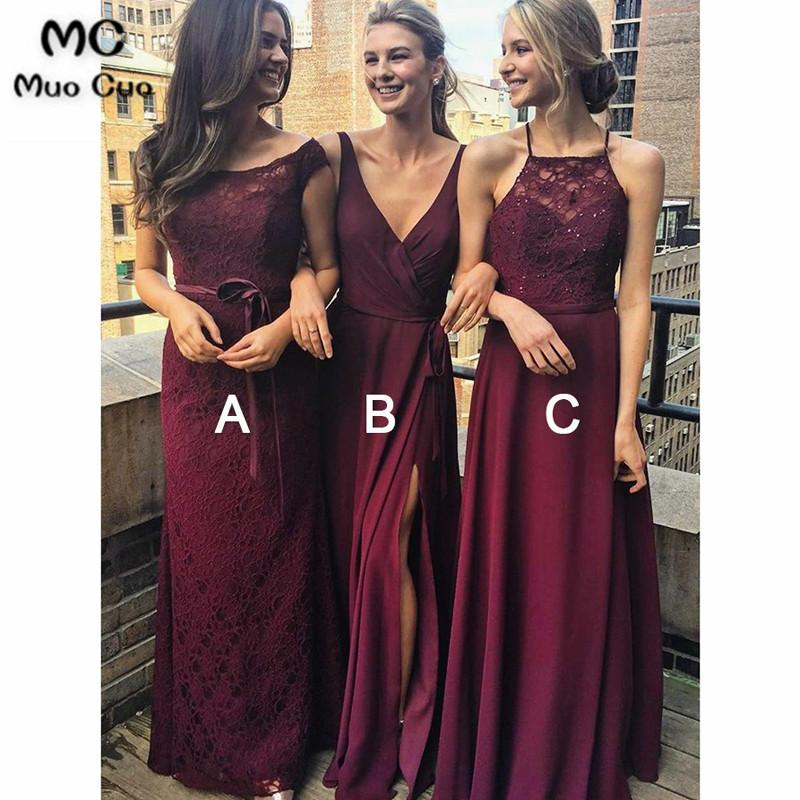 f95fb67077 2018 A Line Spaghetti Straps Burgundy Bridesmaid Dress With Lace Chiffon  Wedding Party Dress Women Bridesmaid Dresses Modest Bridesmaid Dresses With  Sleeves ...