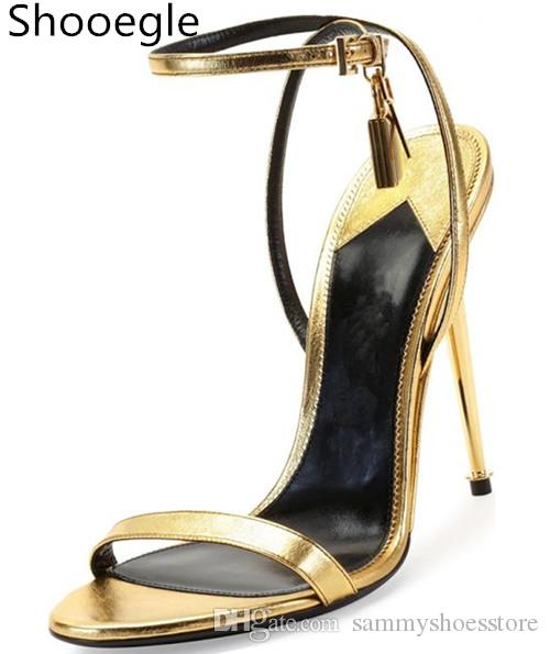 Gold Sliver Lock Open Toe Buckle Strap Stiletto Sexy Fashion Sandals Women Luxury Thin High Metal Heel Shoes Gold Red Black