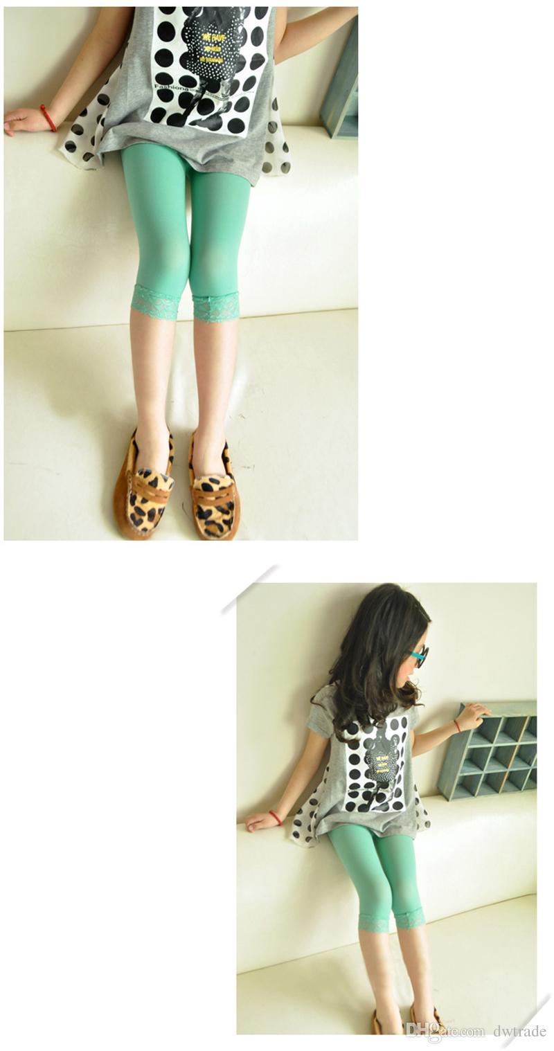 طفلة حلوى لون طماق المخملية الصيف الأطفال أزياء الدانتيل السراويل الضيقة طفل الجوارب بنطلون لطيف الجوارب طماق الطفل