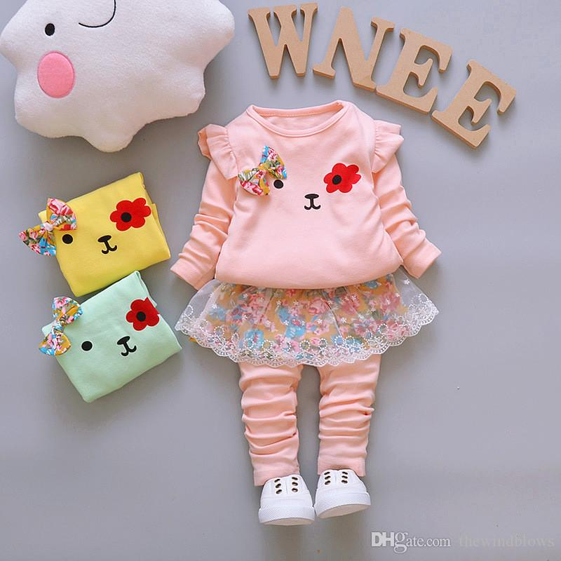 91e8a754c 2018 Baby Girls Clothing Sets Spring Autumn Cartoon Lace Bow Tie ...
