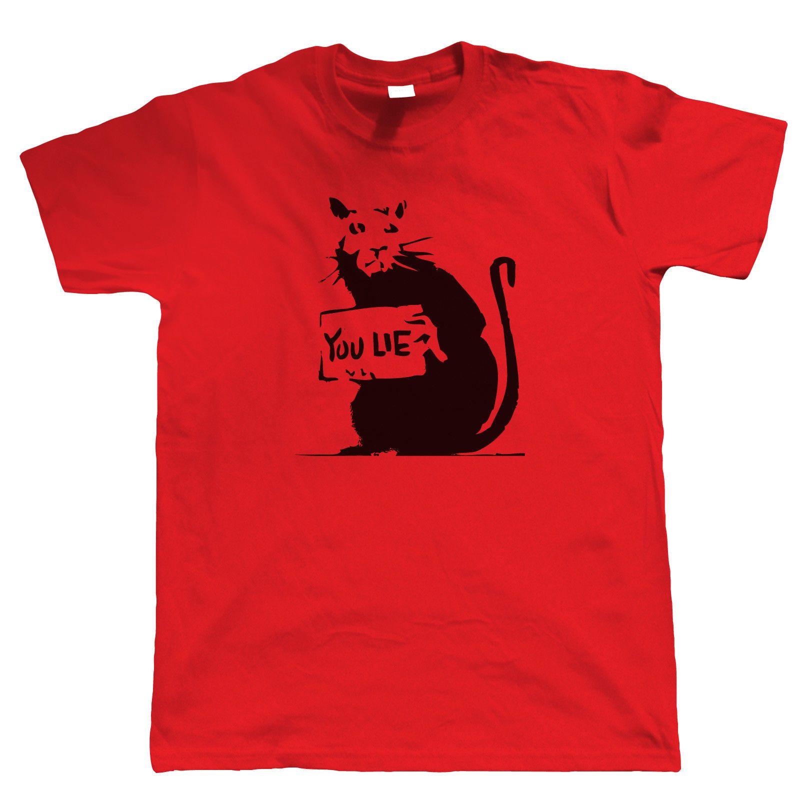 1e6276e19393 Banksy Rat You Lie T Shirt Graffiti Urban Art Political Offensive Mens 2018  Fashion Brand T Shirt O Neck 100%cotton T Shirt Tops Tee Awesome Shirt  Design ...