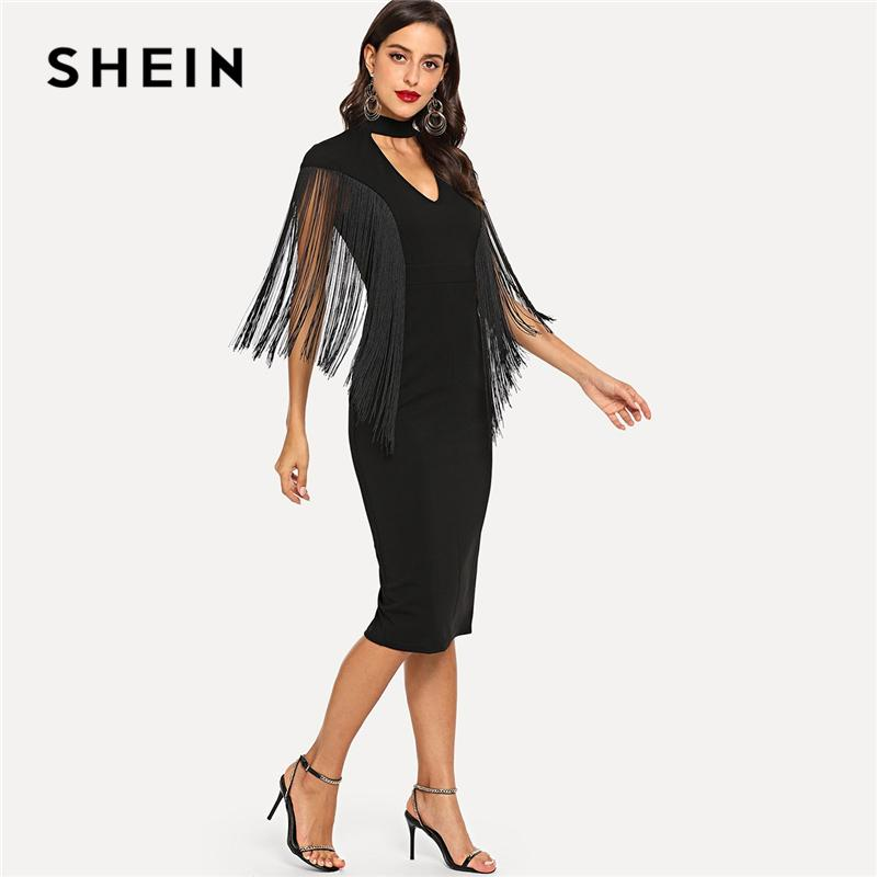 6e745bbcf3 2019 SHEIN Black Highstreet Party Elegant Fringe Detail Choker Neck Solid  Pencil Dress 2018 Autumn Modern Lady Slim Women Dresses From Movearound, ...