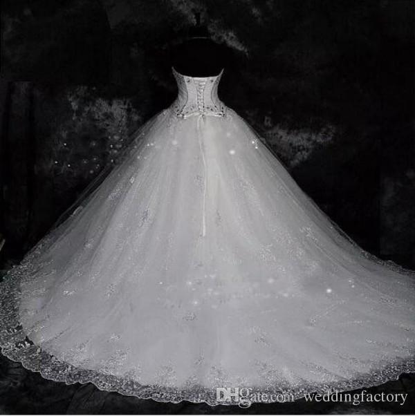 Classic Sparkly Ball Gown Wedding Dresses Crystals Sequins Lace Appliques Sweetheart Corset Back Big Wedding Dress Bridal Gowns with Train