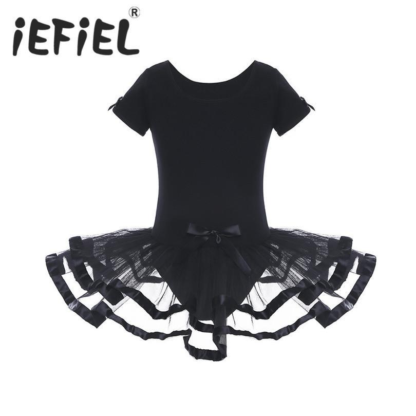 3c16f55333d9 2019 Black Girls Mesh Ballet Flower Dance Gymnastics Leotard Dress ...