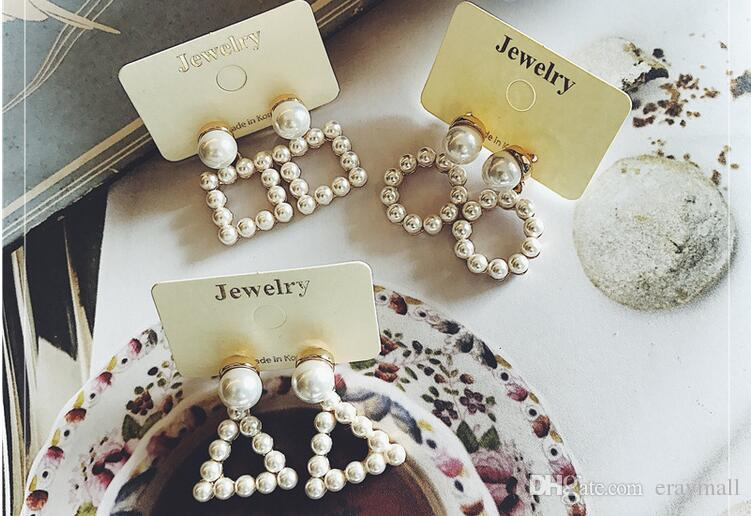 Hollow pearl geometric triangular square earrings allergy free stud earrings many styles can choose