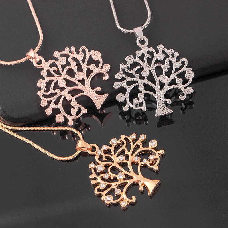Tree Of Life Pendant Necklace Women Jewelry Crystal Statement Necklaces & Pendants Christmas Gifts Bijoux Rose Gold Long Chain Necklace