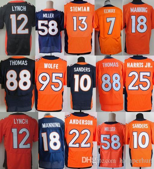 c48a12cfb8b 2018 Elite Men Stitched Denver Bronco Jerseys  58 Von Miller 18 Peyton  Manning 95 Derek Wolfe 10 Emmanuel Sanders 7 Elway 88 Thomas From Hasty